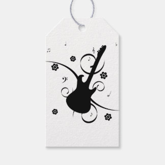 Black Electric Guitar with Floral Pattern Gift Tags