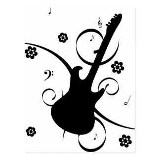 Black Electric Guitar with Floral Pattern Postcard