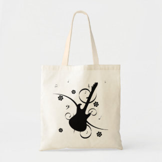 Black Electric Guitar with Floral Pattern Tote Bag