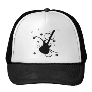 Black Electric Guitar with Floral Pattern Trucker Hat