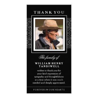 Black Elegance Thank You Memorial Photo Card