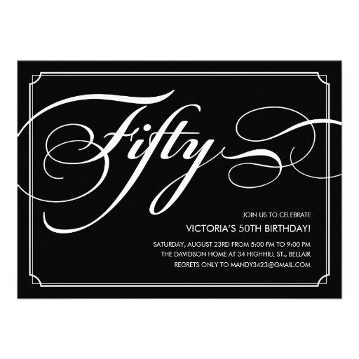 Black Elegant 50th Birthday Invitations