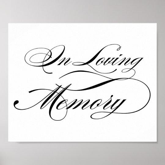 black elegant calligraphy script in loving memory poster zazzle ca