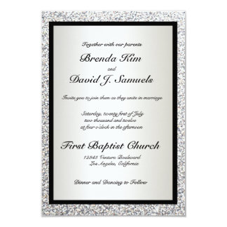 Black Elegant Glitter Wedding Invitation