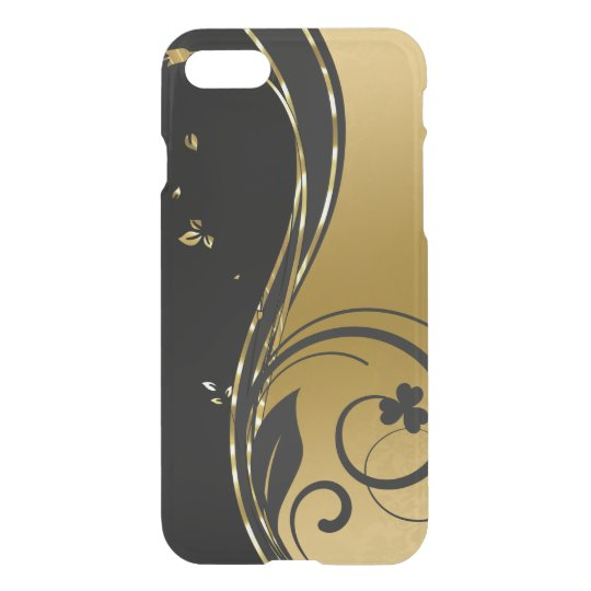 Black & Elegant Gold Floral Swirls Design GR1 iPhone 8/7 Case