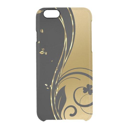 Black & Elegant Gold Floral Swirls Design GR2 Clear iPhone 6/6S Case