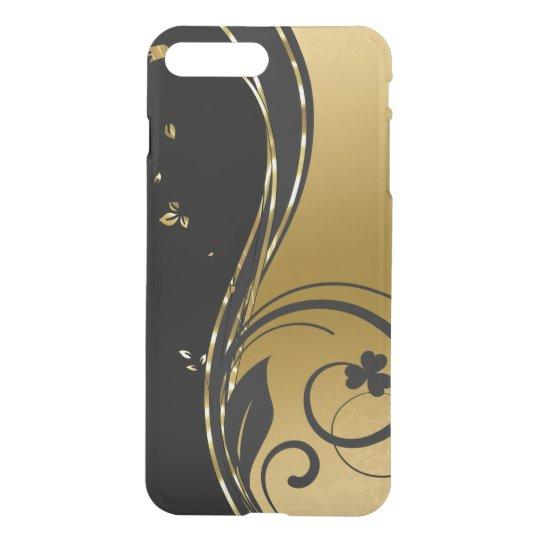 Black & Elegant Gold Floral Swirls Design iPhone 7 Plus Case