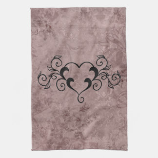 Black Elegant Heart Hand Towel