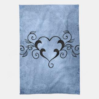 Black Elegant Heart Kitchen Towel