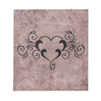 Black Elegant Heart Notepad