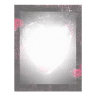 Black Elegant Heart & Roses Letterhead