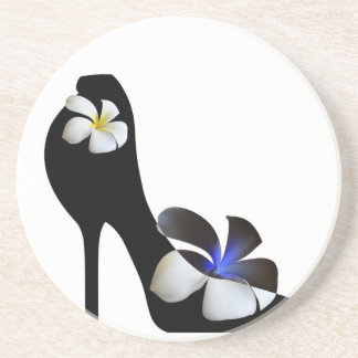 Black elegant high-heeled shoes. Fantasy of high f Coaster