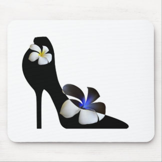 Black elegant high-heeled shoes. Fantasy of high f Mouse Pad