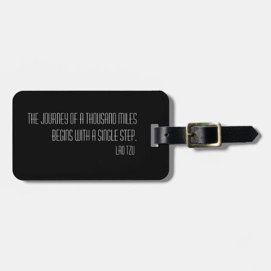 Black Elegant quote travel customizable Luggage Tag