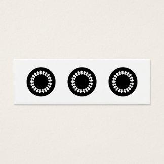 Black Elegant Round Design. Art Deco Style. Mini Business Card