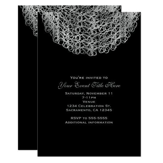 Black Elegant Silver Circle Event Party Invitation