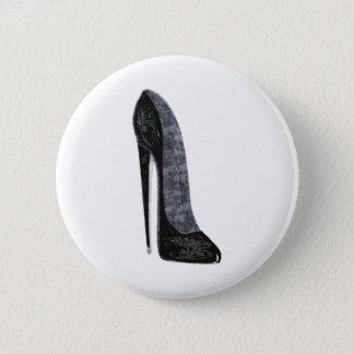 Black Elegant Stiletto High Heel Shoe Art 2 Inch Round Button
