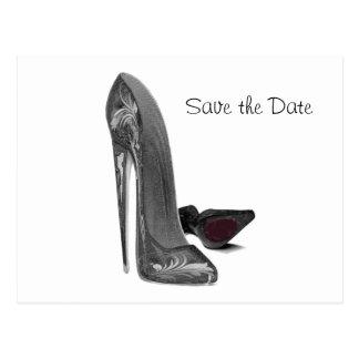 Black Elegant Stiletto Shoe Art Postcard
