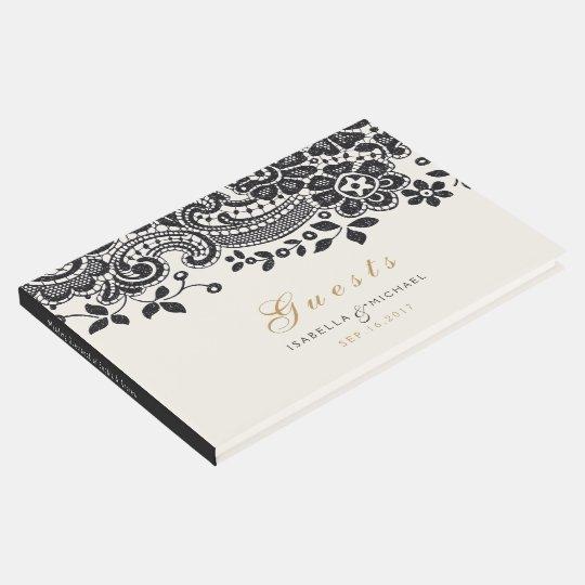 Black elegant vintage lace wedding guest book