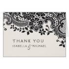 Black elegant vintage lace wedding thank you card