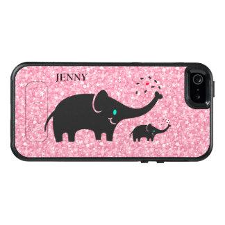 Black Elephants On Pink Glitter OtterBox iPhone 5/5s/SE Case