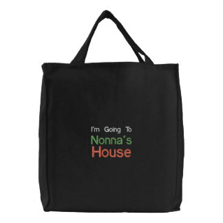 Black Embroidered Going To Nonnas House Bag