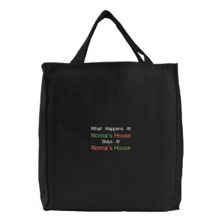 Black Embroidered Nonna's House Tote Bag