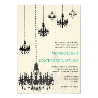 "Black Emerald Green Damask Chandeliers Wedding 5"" X 7"" Invitation Card"