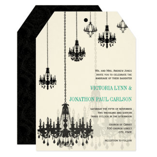 Black Emerald Green Damask Chandeliers Wedding Card
