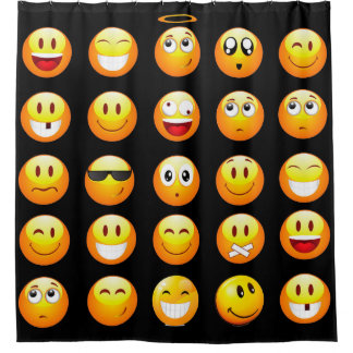 black emojis bathroom shower curtain