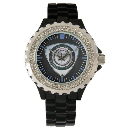 Black Enamel, Rhinestone, Rotary Engine Watch