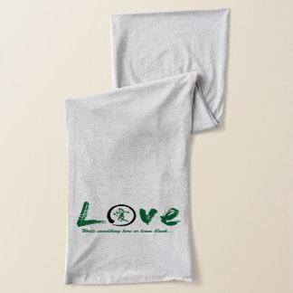 Black enso zen circle, green symbol for love scarf