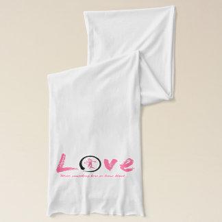 Black enso zen circle, pink symbol for love scarf