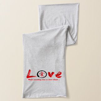 Black enso zen circle, red symbol for love scarf