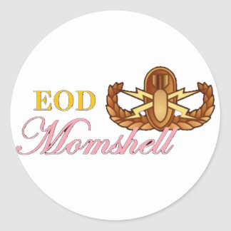 black eod momshell round sticker