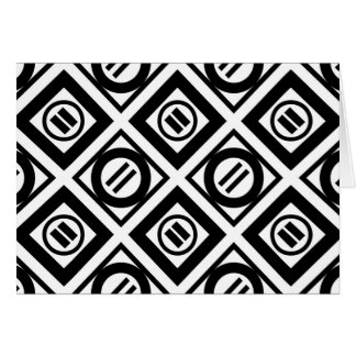Black Equal Sign Geometric Pattern on White Card
