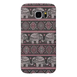Black Ethnic Elephant Pattern Samsung Galaxy S6 Cases