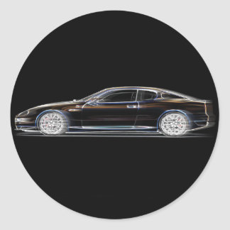 Black Exotic Luxury Sports Car of a Gentleman Classic Round Sticker