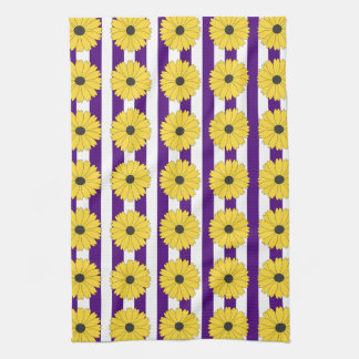 Black Eyed Susan Eggplant Purple Stripe Pattern Kitchen Towel