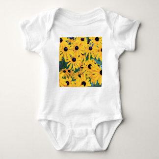 Black Eyed Susan Flowers in Deep Yellow Baby Bodysuit