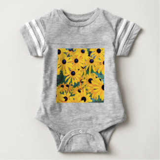 Black Eyed Susan Flowers in Deep Yellow Baby Bodysuit
