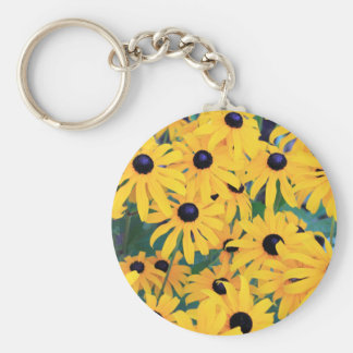 Black Eyed Susan Flowers in Deep Yellow Keychain