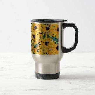 Black Eyed Susan Flowers in Deep Yellow Travel Mug