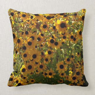 Black Eyed Susan Flowers Yellow Brown Green Pillow