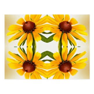 Black-Eyed Susan Kaleidoscope Pattern Postcard