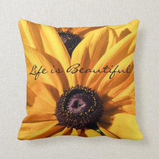 Black Eyed Susan Life is Beautiful Throw Pillow