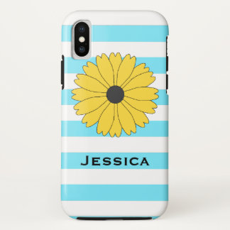 Black Eyed Susan Light Blue and White Stripes iPhone X Case