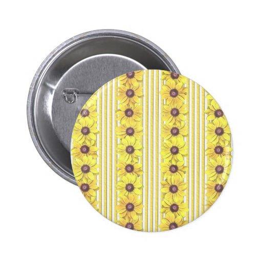 Black Eyed Susan Stripes Pinback Button