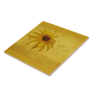 Black-Eyed Susan Wildflower & Quotation Ceramic Tiles