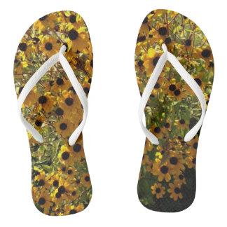 Black Eyed Susan Yellow Flowers Green FlipFlops